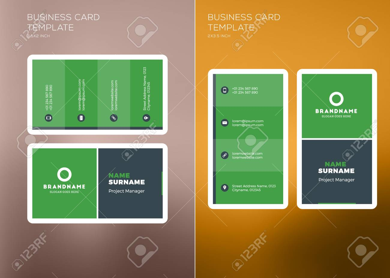 Corporate business card print template personal visiting card corporate business card print template personal visiting card with company logo vertical and horizontal friedricerecipe Image collections