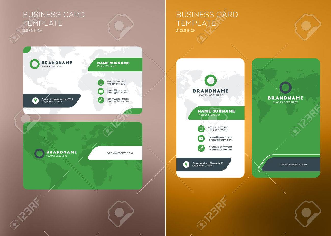 Corporate business card print template personal visiting card corporate business card print template personal visiting card with company logo vertical and horizontal cheaphphosting Gallery