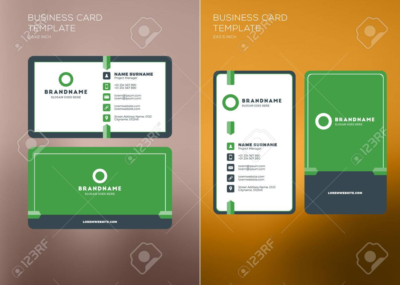 Corporate business card print template personal visiting card corporate business card print template personal visiting card with company logo vertical and horizontal flashek Gallery