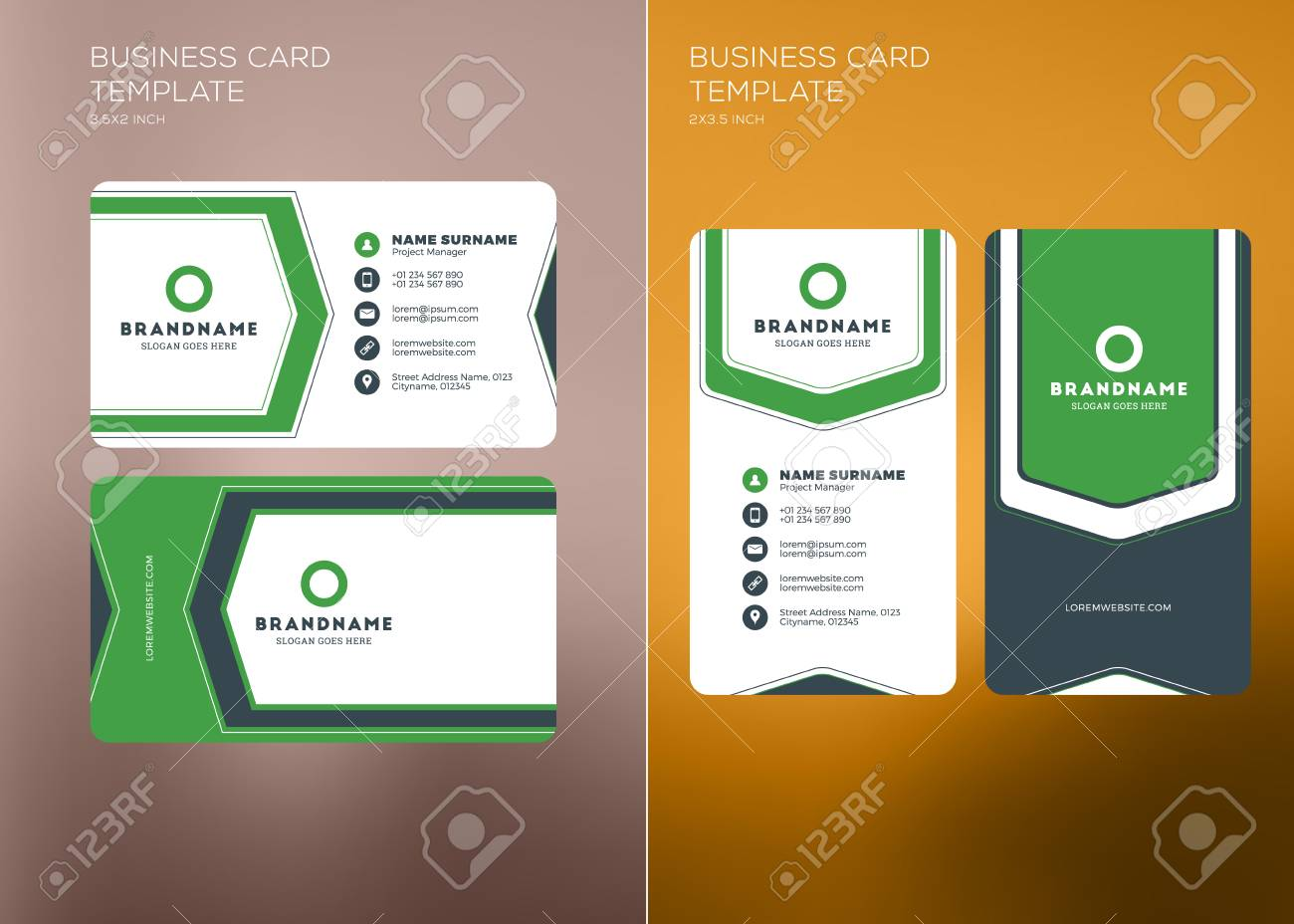 Corporate business card print template personal visiting card corporate business card print template personal visiting card with company logo vertical and horizontal fbccfo Choice Image