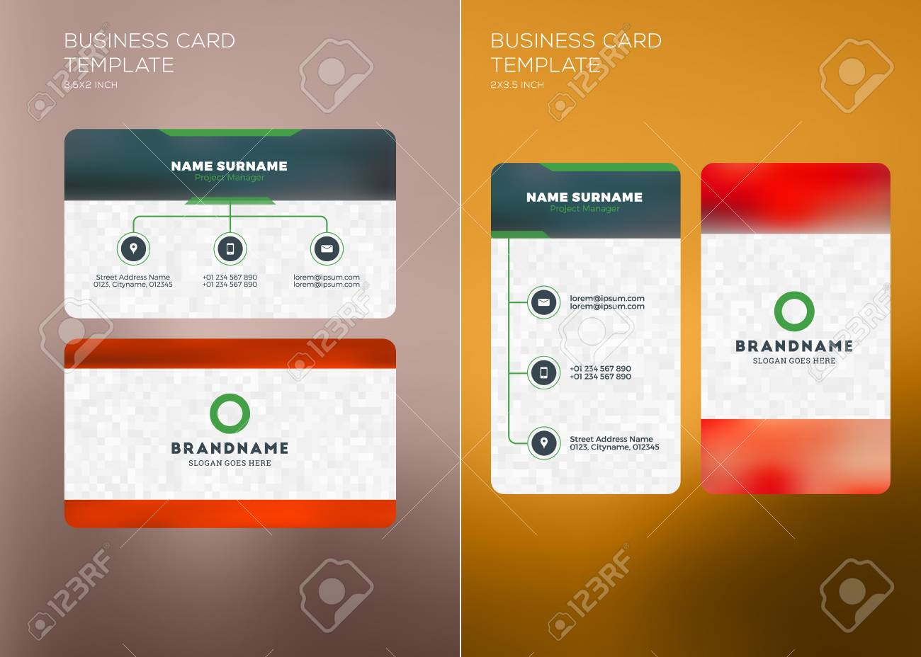 Corporate business card print template personal visiting card corporate business card print template personal visiting card with company logo vertical and horizontal reheart Choice Image
