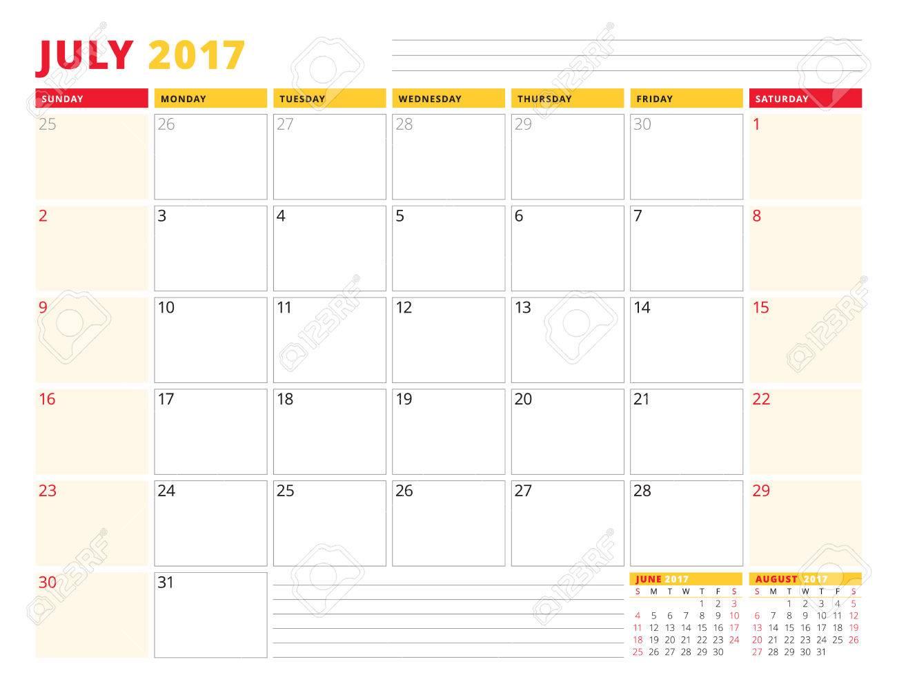 Plantilla Calendario Del Planificador De 2017 Años. Julio. Diseño De ...