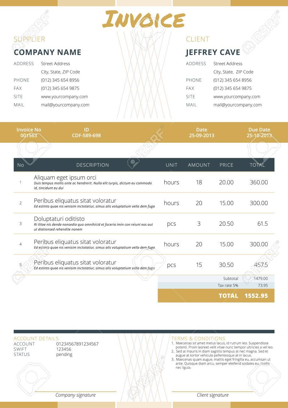 Business Invoice Template. Stationery Design. Vector Illustration ...