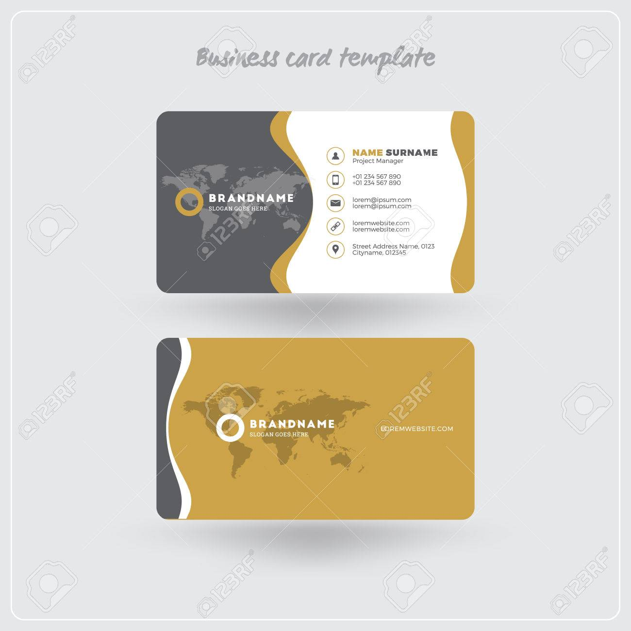 Golden and gray business card print template personal visiting golden and gray business card print template personal visiting card with company logo clean accmission Image collections