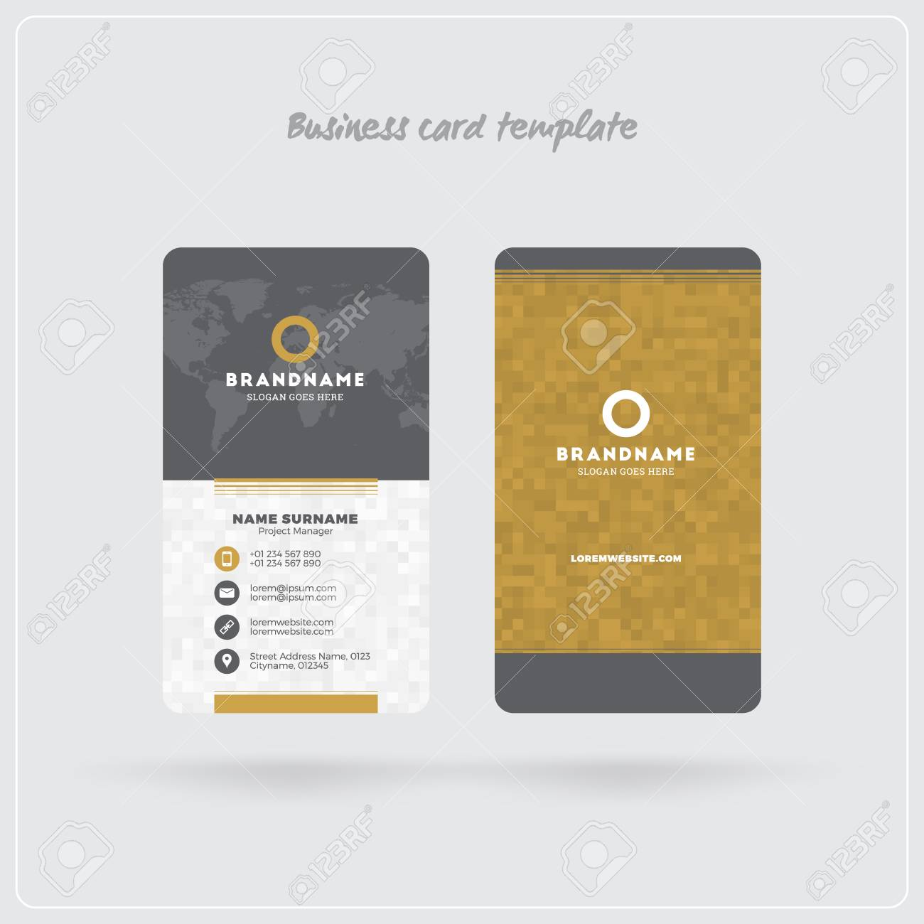Golden and gray vertical business card print template double sided golden and gray vertical business card print template double sided personal visiting card with cheaphphosting Choice Image