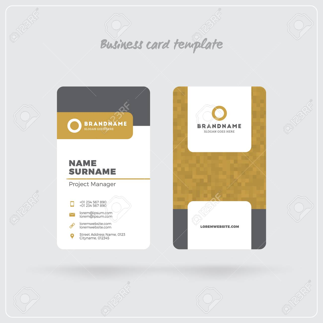 Golden and gray vertical business card print template double sided golden and gray vertical business card print template double sided personal visiting card with colourmoves