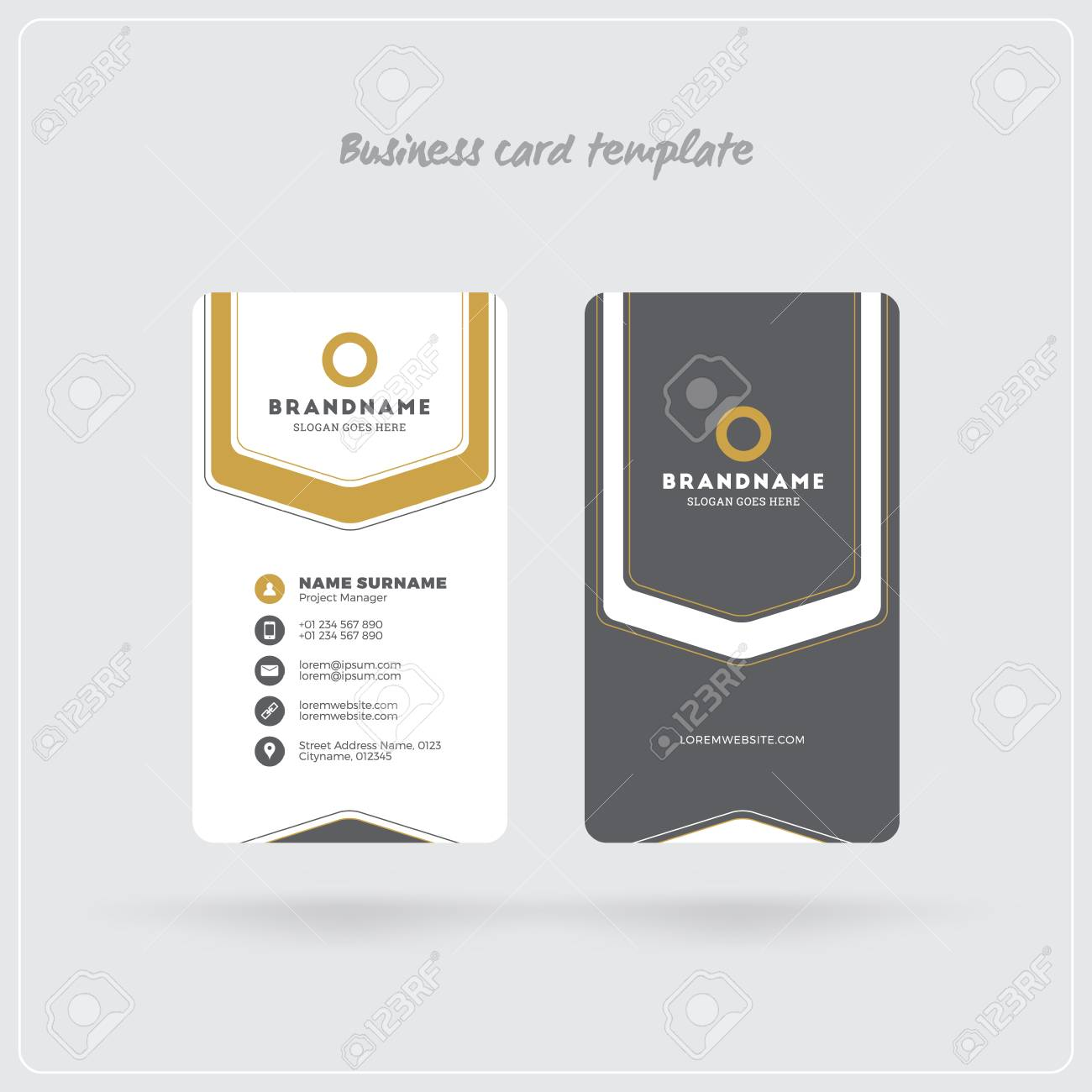 Golden and gray vertical business card print template double sided golden and gray vertical business card print template double sided personal visiting card with friedricerecipe Choice Image