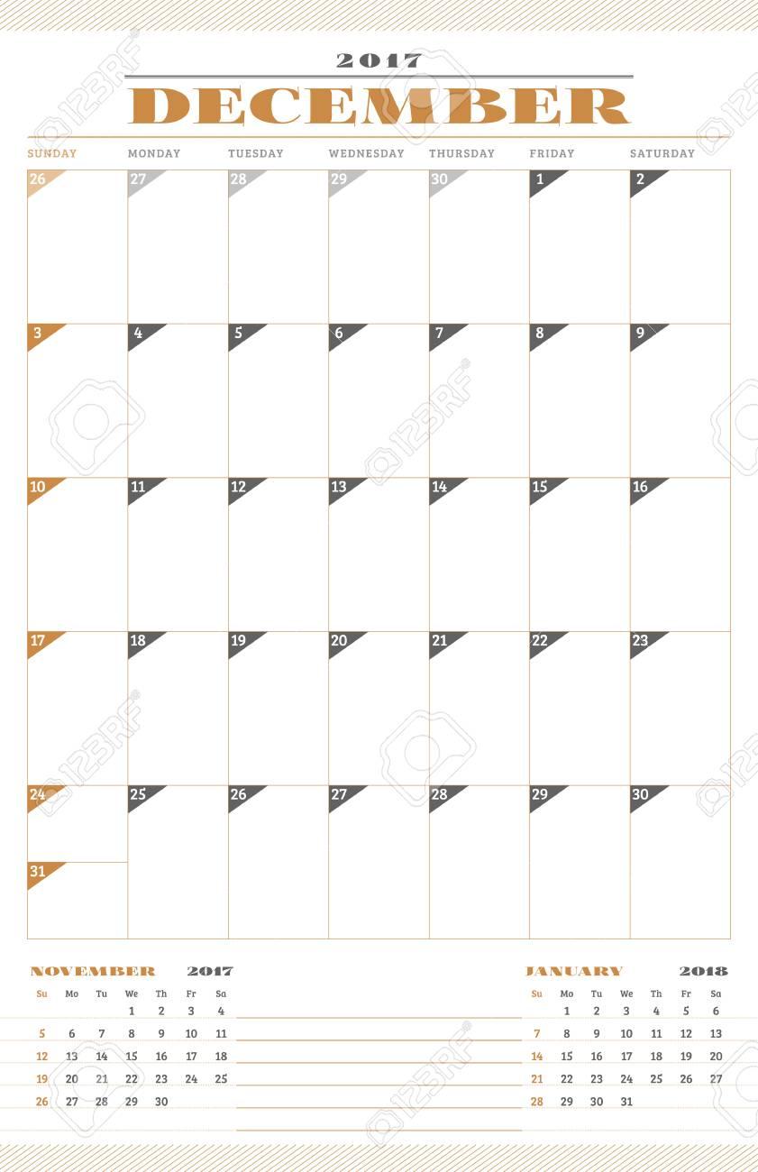 Calendario Anno 2017.Modello Di Calendario Per L Anno 2017 Dicembre Retro Modello Di Business Planner Design Di Cancelleria La Settimana Inizia Domenica 3 Mesi Sulla