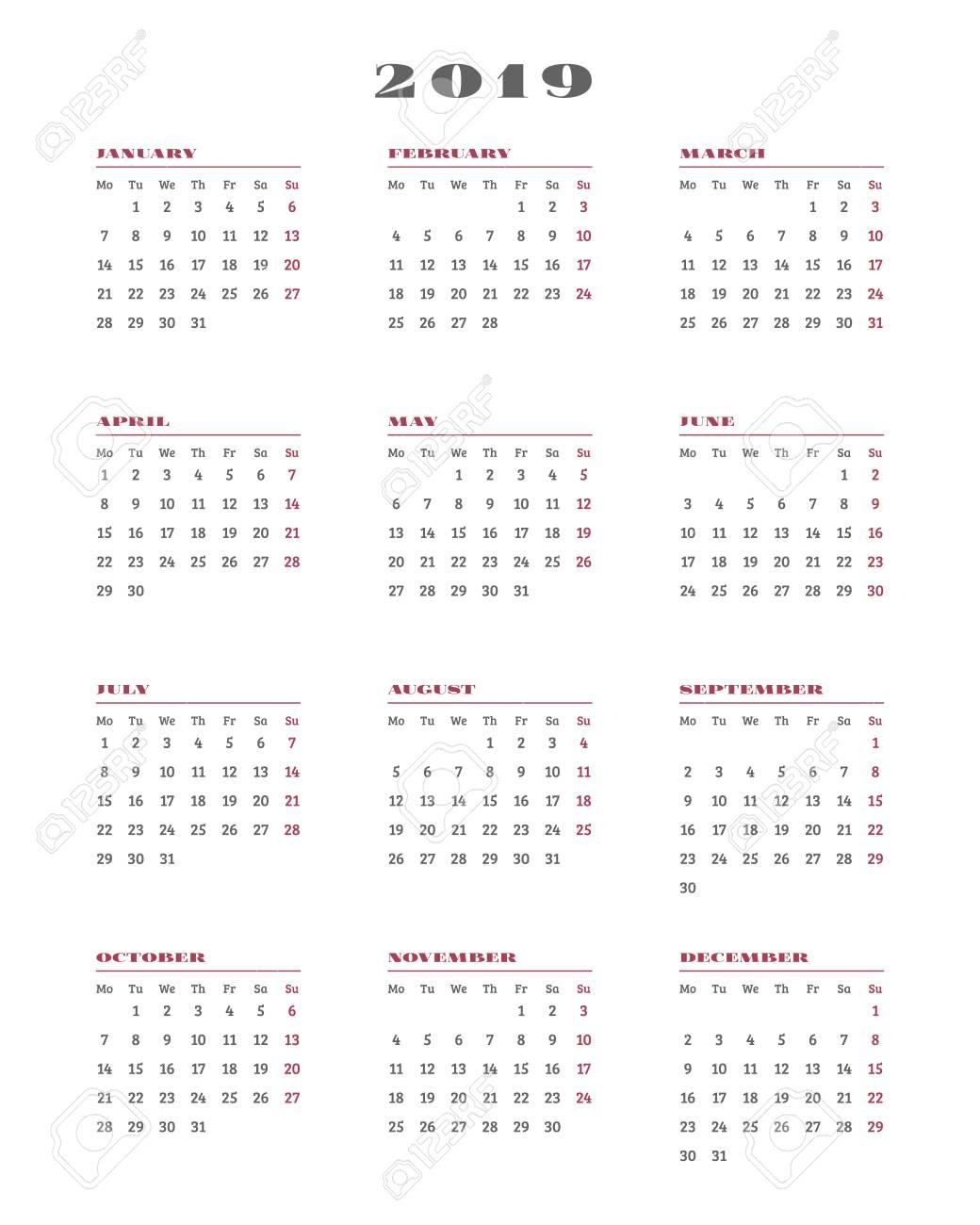 Calendario Settimane Anno 2019.Calendario Per Il 2019 Anno La Settimana Inizia Lunedi Illustrazione Vettoriale