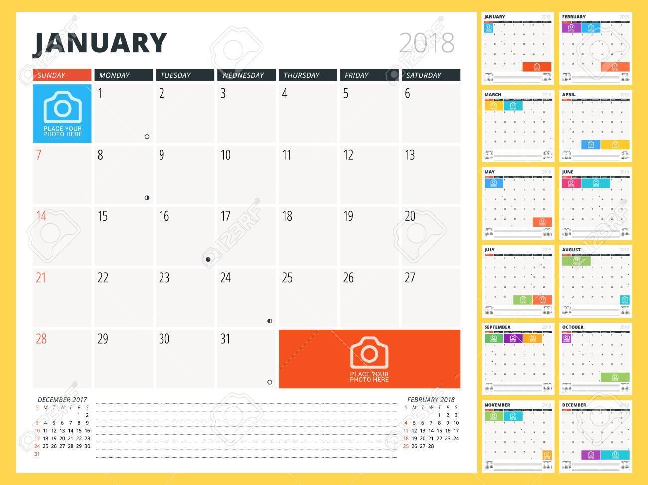 Planificador De Calendario Para El Año 2018. Plantilla De Diseño. La ...