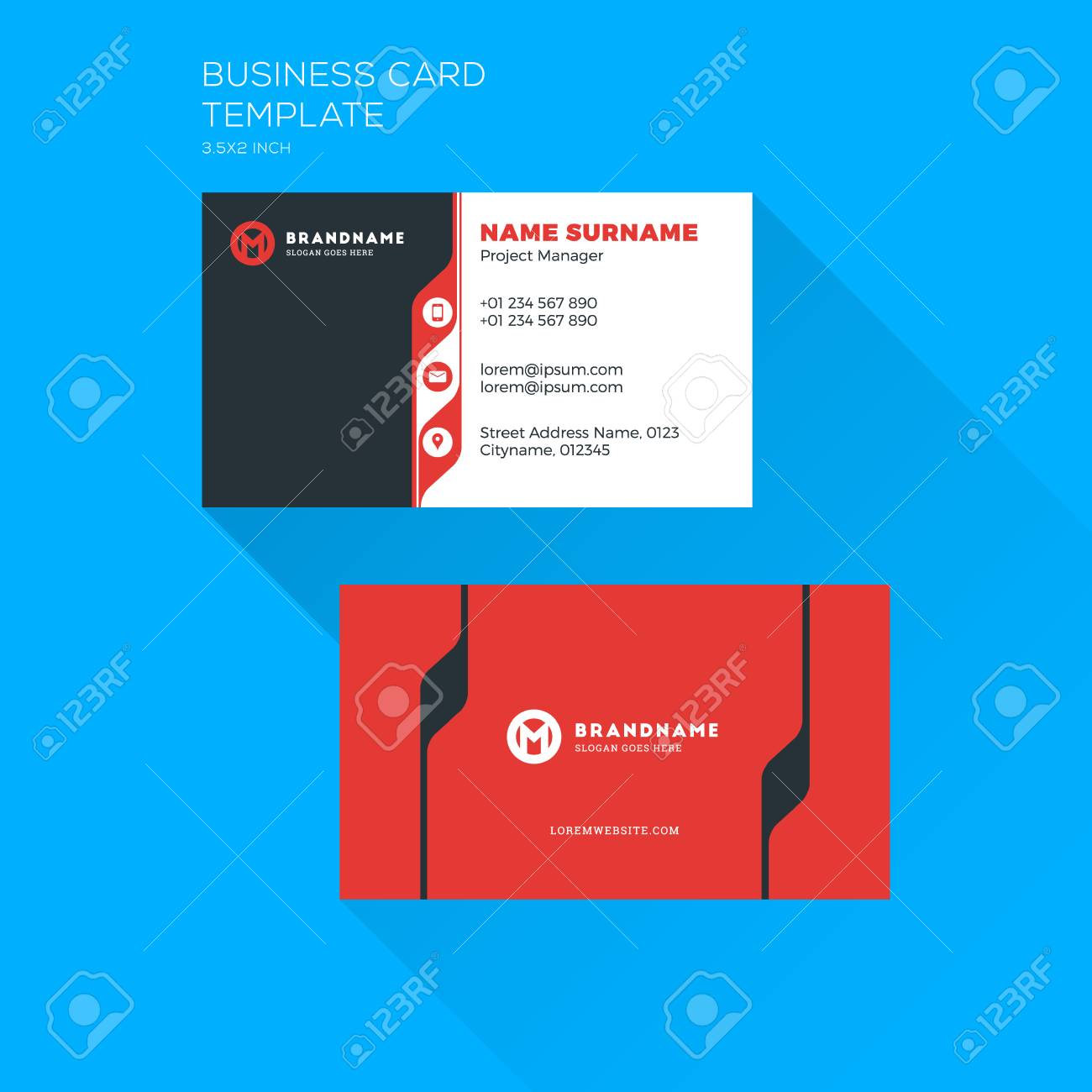 Corporate business card print template personal visiting card corporate business card print template personal visiting card with company logo clean flat stationery accmission Choice Image