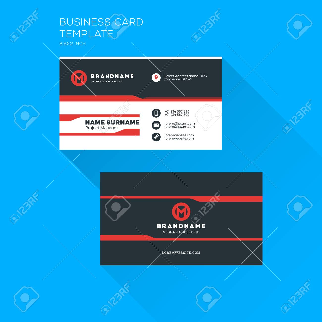 Corporate business card print template personal visiting card corporate business card print template personal visiting card with company logo clean flat stationery wajeb Gallery