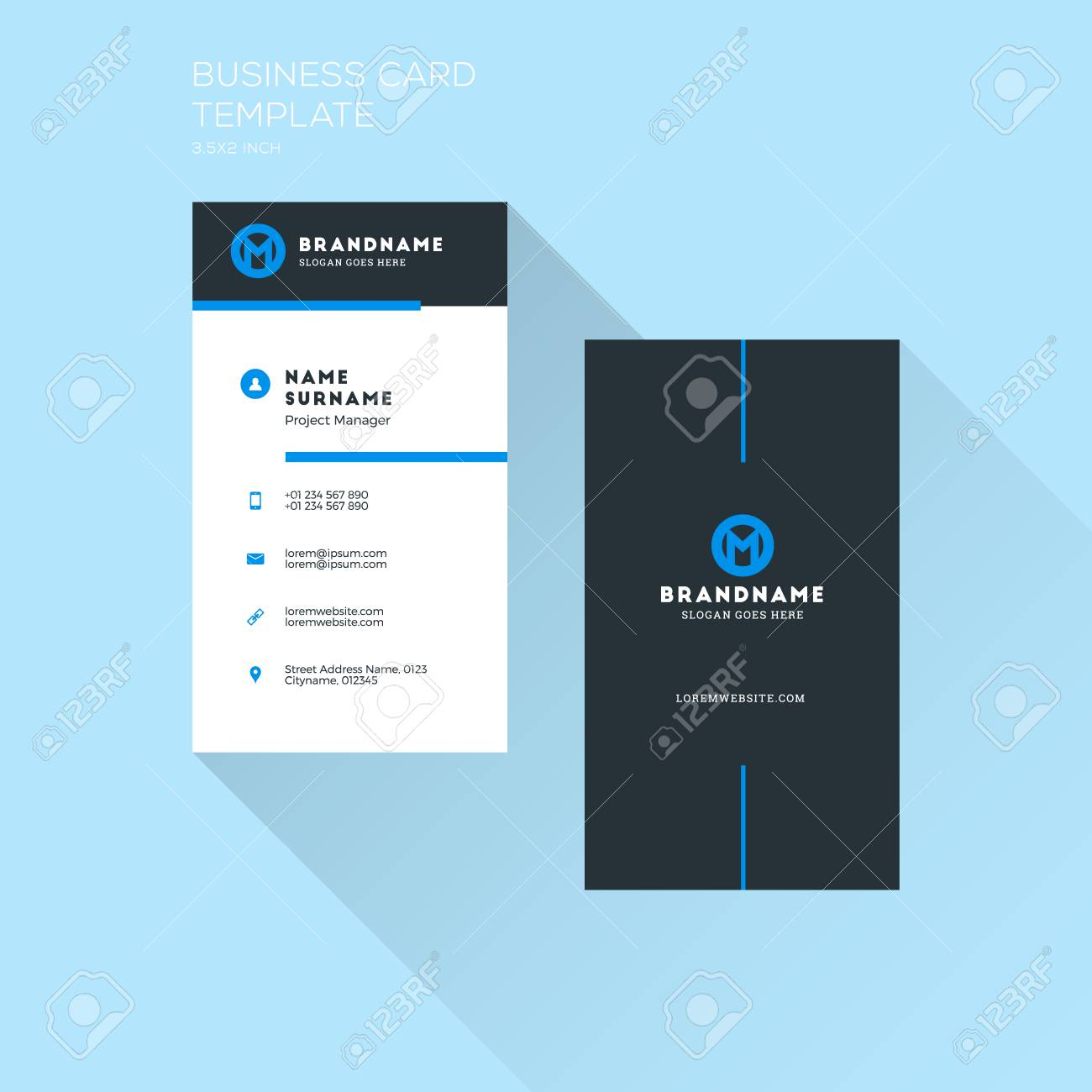 Vertical Business Card Print Template. Personal Visiting Card..
