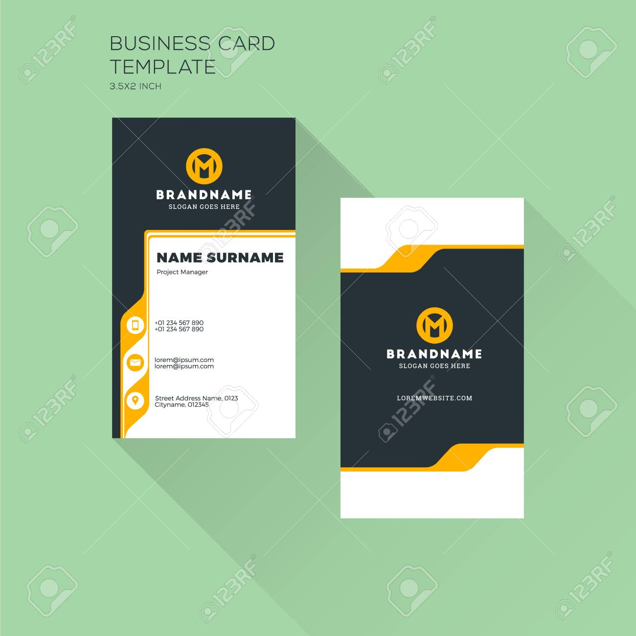 Vertical business card print template personal visiting card vector vertical business card print template personal visiting card with company logo clean flat design vector illustration reheart Gallery