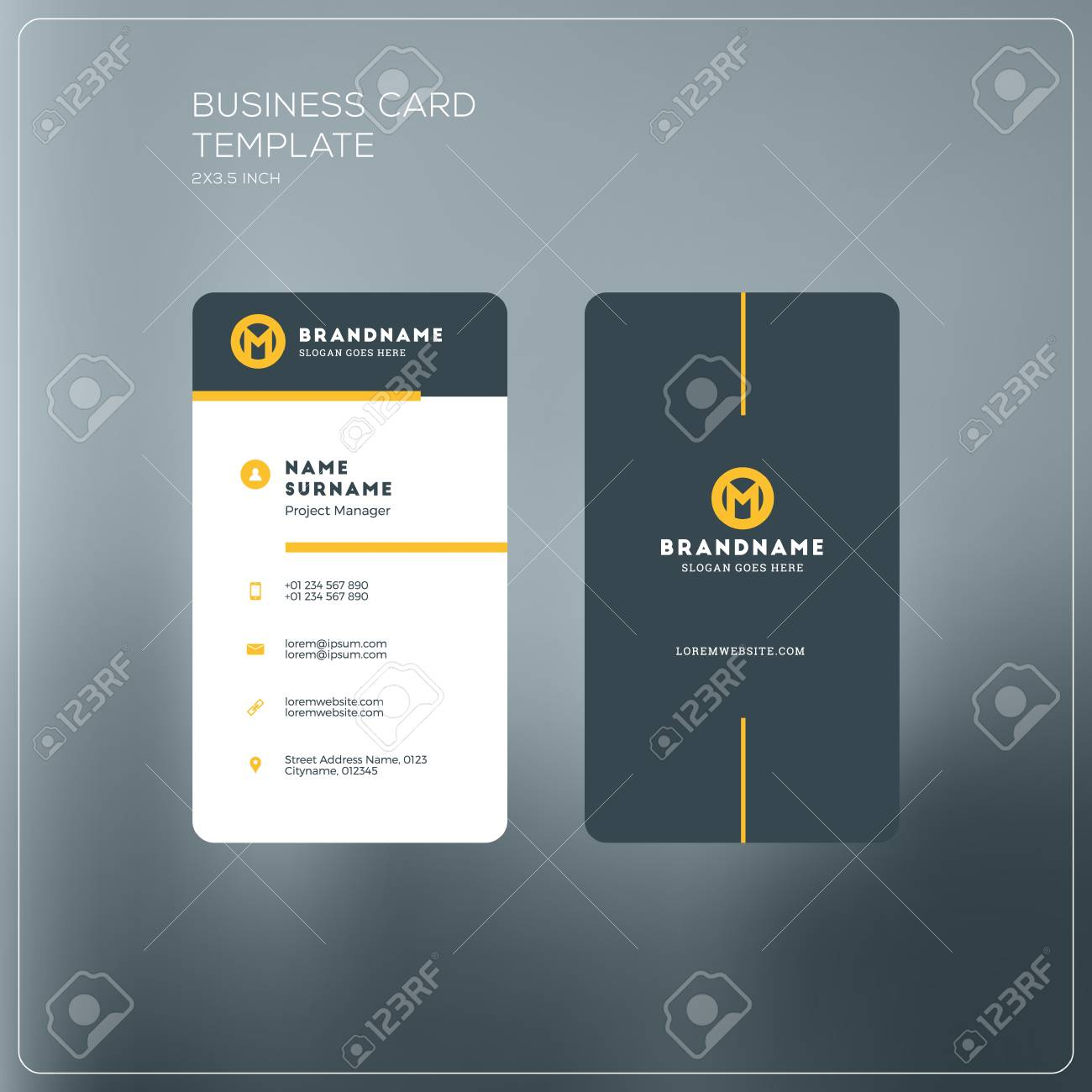 Vertical business card print template personal business card vector vertical business card print template personal business card with company logo black and yellow colors clean flat design vector illustration accmission