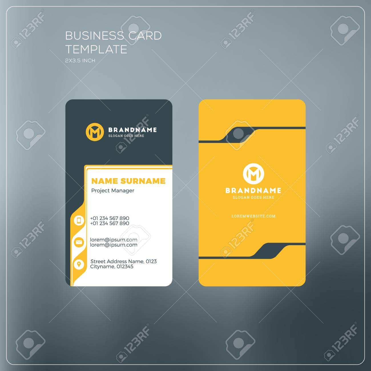 Vertical business card print template personal business card vector vertical business card print template personal business card with company logo black and yellow colors clean flat design vector illustration reheart Images