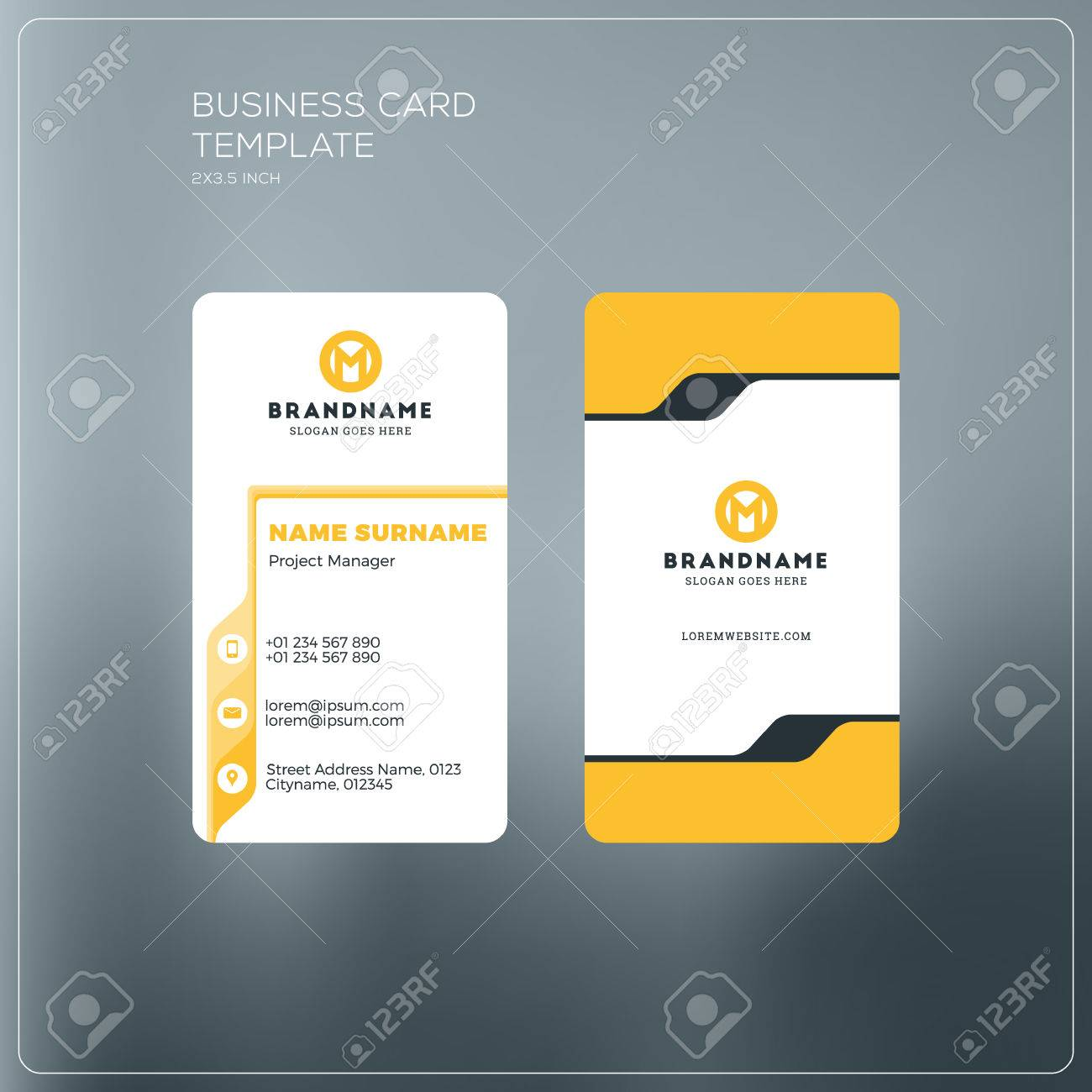Vertical business card print template personal business card vector vertical business card print template personal business card with company logo black and yellow colors clean flat design vector illustration fbccfo Gallery