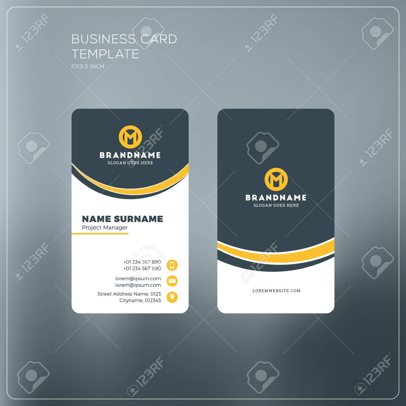 Vertical business card print template personal business card vector vertical business card print template personal business card with company logo black and yellow colors clean flat design vector illustration friedricerecipe Image collections