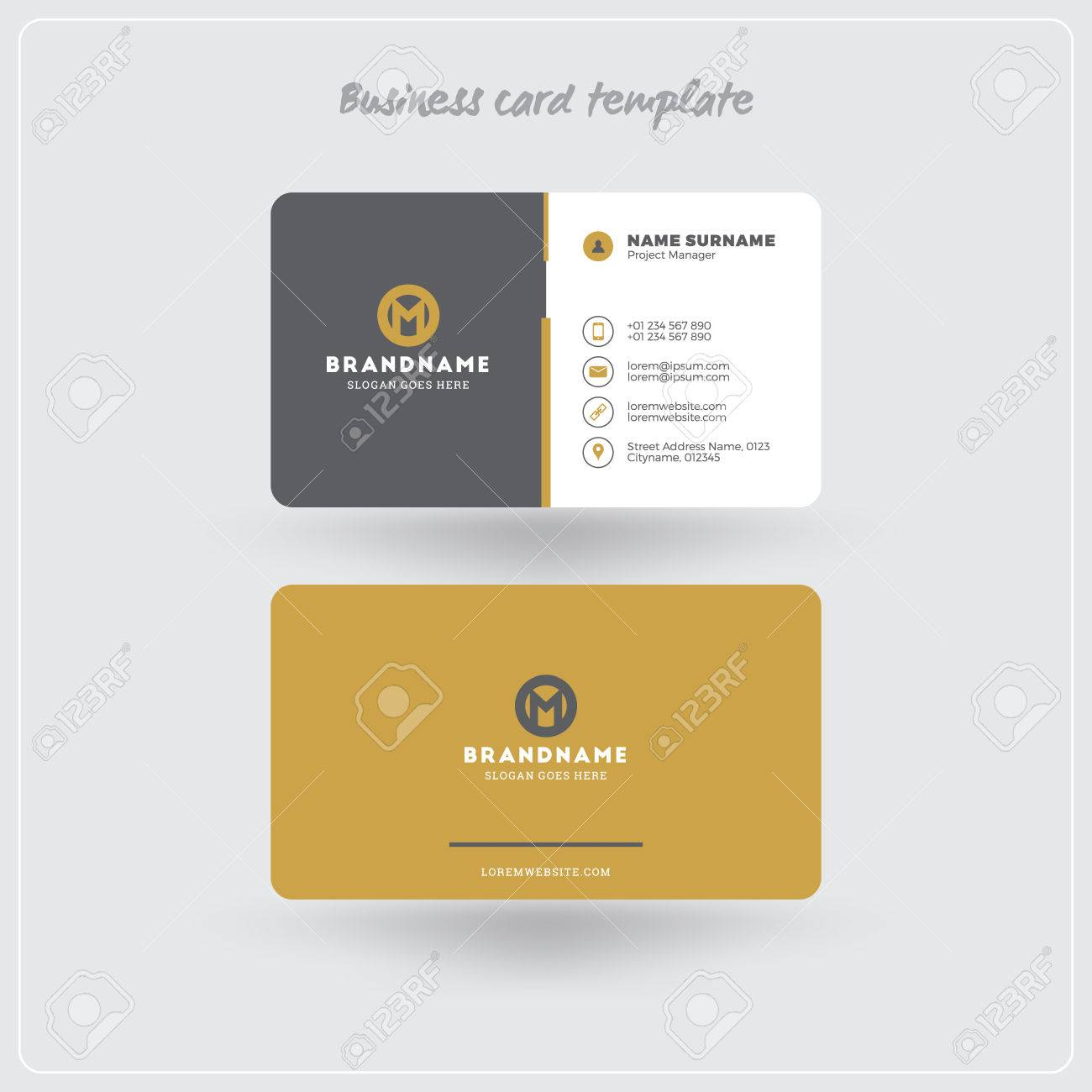 Golden and gray business card print template personal visiting golden and gray business card print template personal visiting card with company logo clean reheart