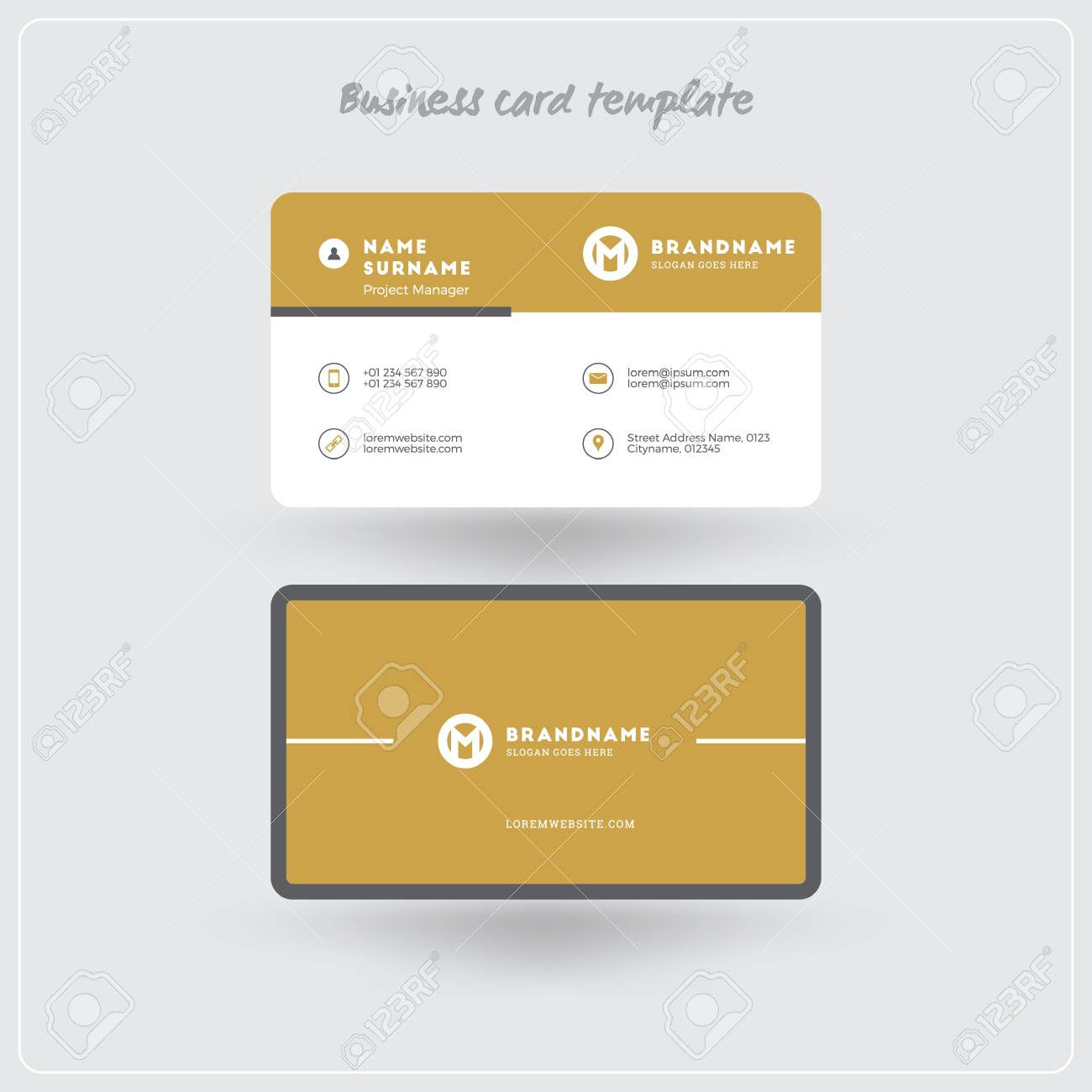 Golden and gray business card print template personal visiting golden and gray business card print template personal visiting card with company logo clean reheart Gallery