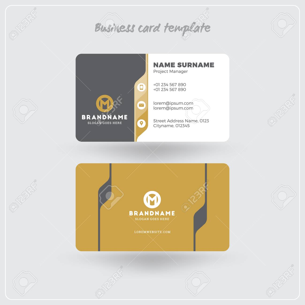 Golden And Gray Business Card Print Template. Personal Visiting ...