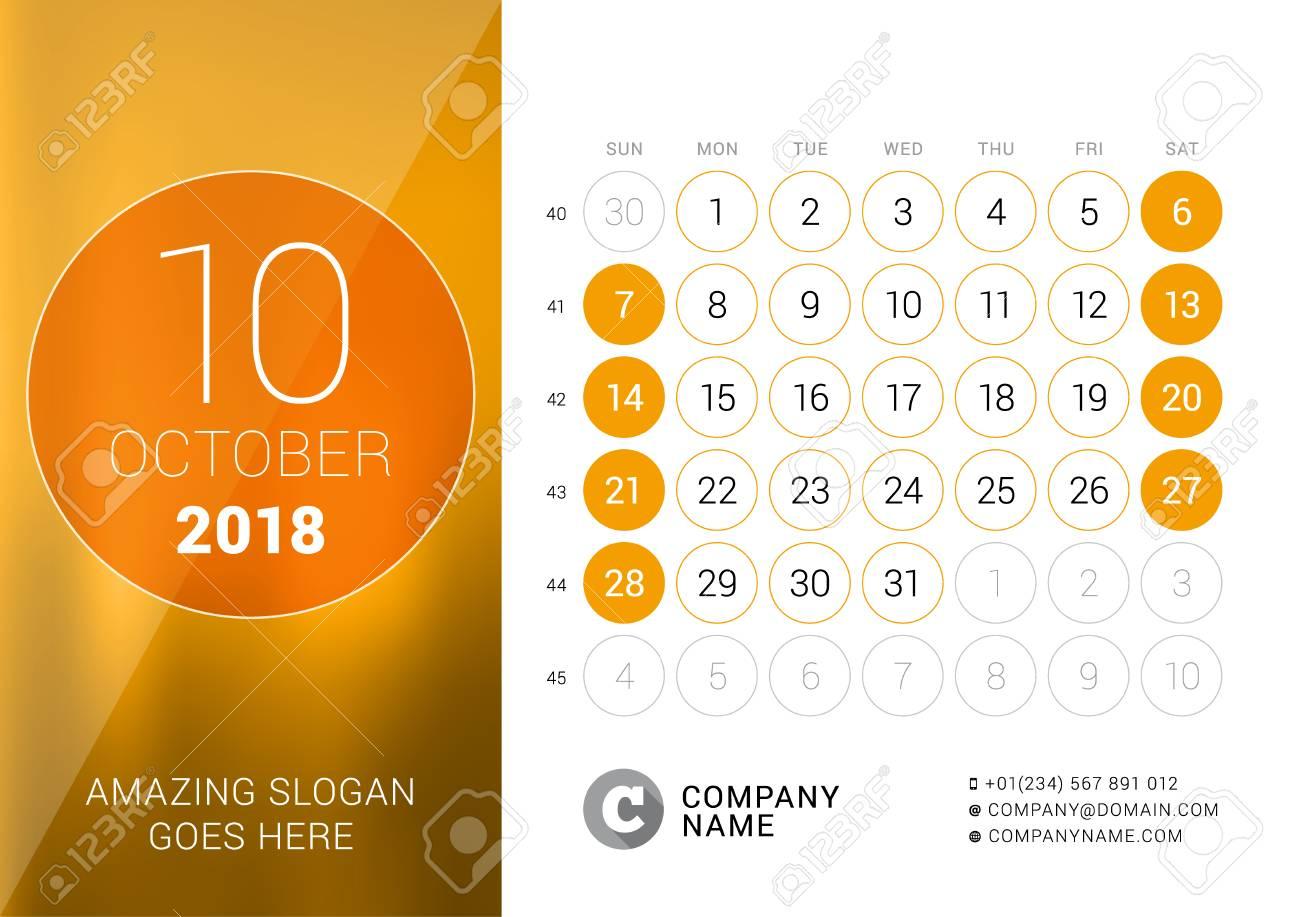 Calendario Con Numero Settimane.Ottobre 2018 Calendario Da Tavolo Per L Anno 2018 Modello Di Stampa Disegno Vettoriale La Settimana Inizia Di Domenica Griglia Del Calendario Con