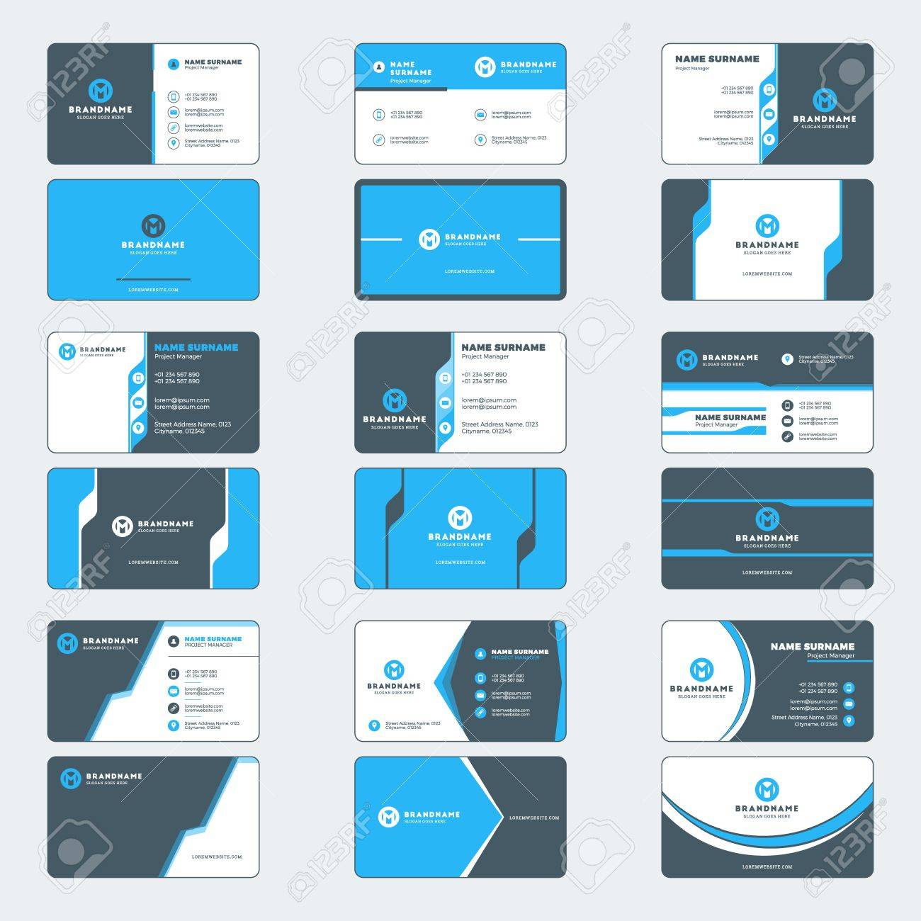 set of modern business card print templates horizontal business cards blue and black colors