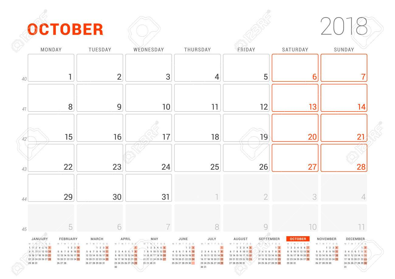 Calendar Template For 2018 Year October Business Planner With