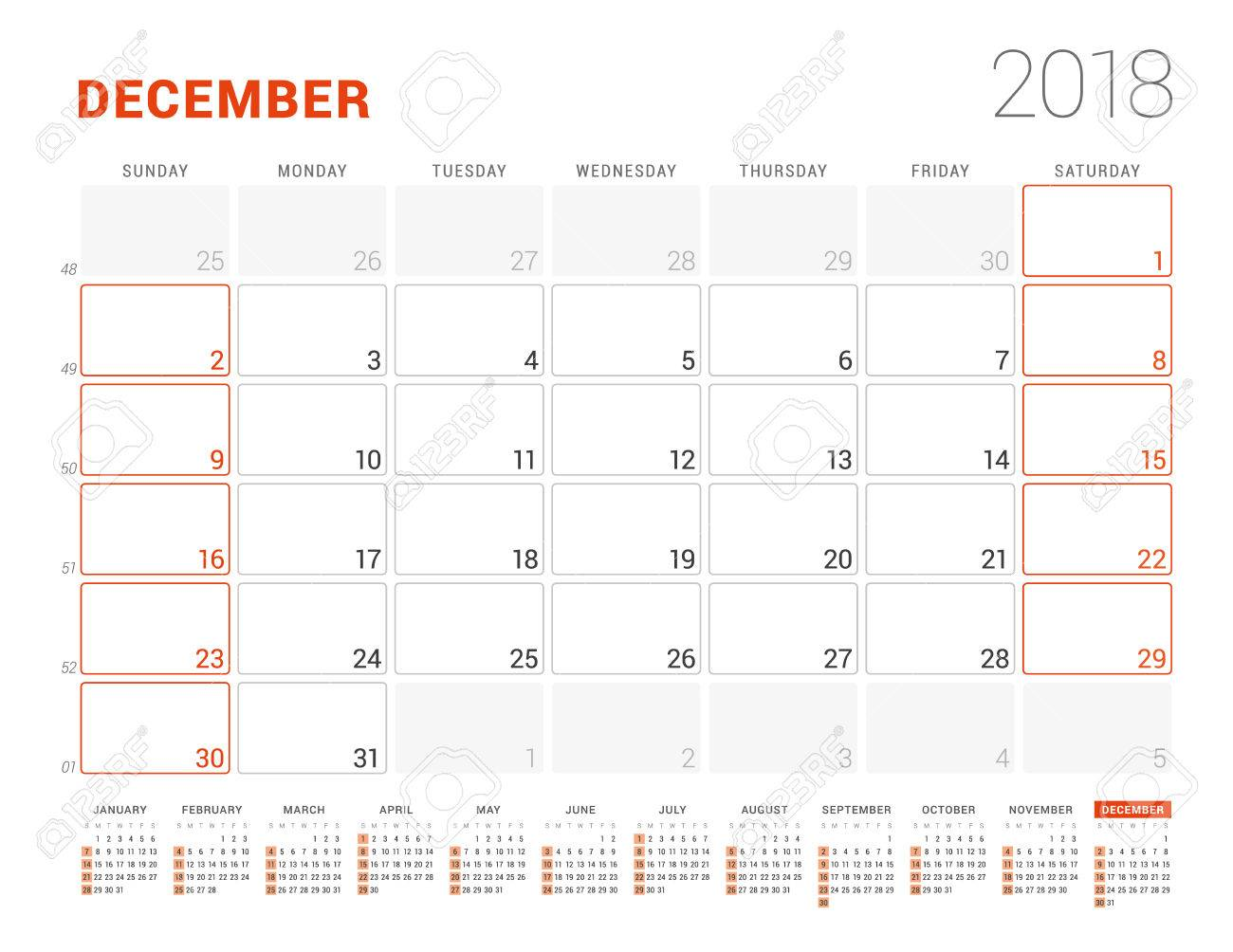 Calendar Template For 2018 Year December Business Planner With