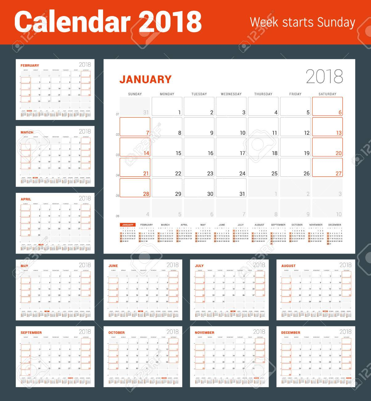 Calendar Template For 2018 Year Set Of 12 Months Business Planner
