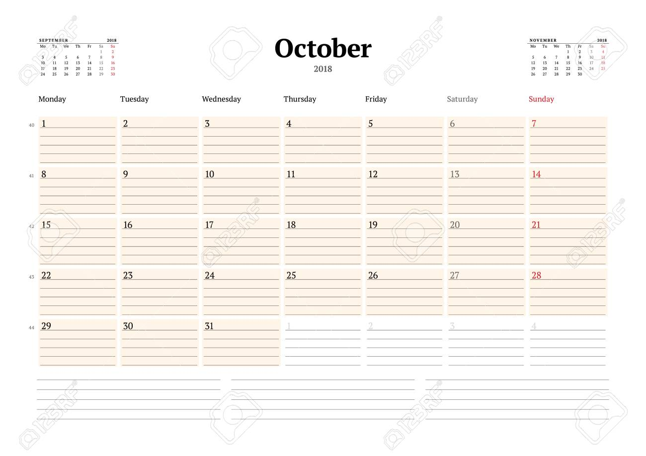 Vektor-Kalender-Planer-Vorlage Für 2018 Jahr. Oktober. Briefpapier ...