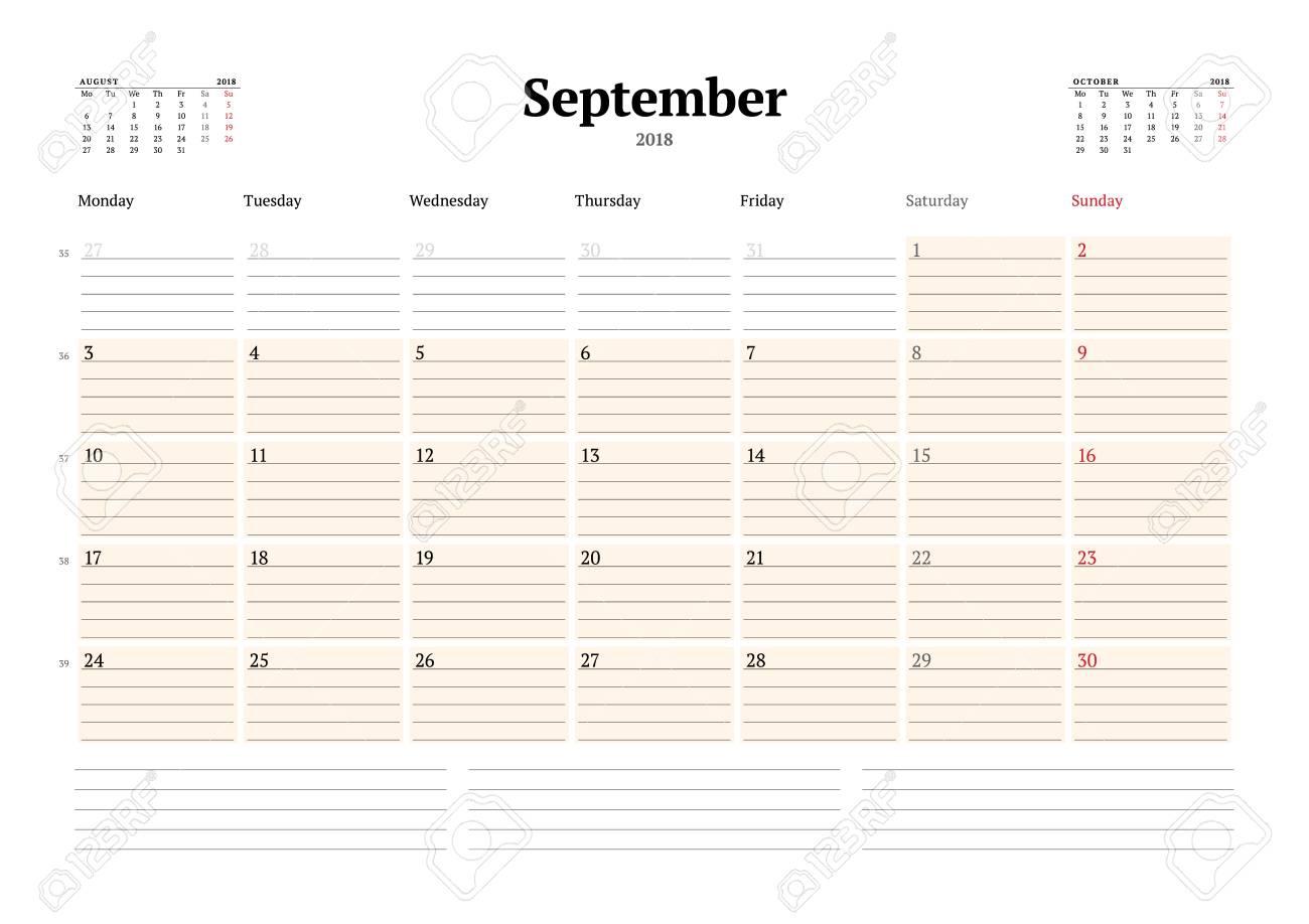 Vector Calendar Planner Template For 2018 Year September