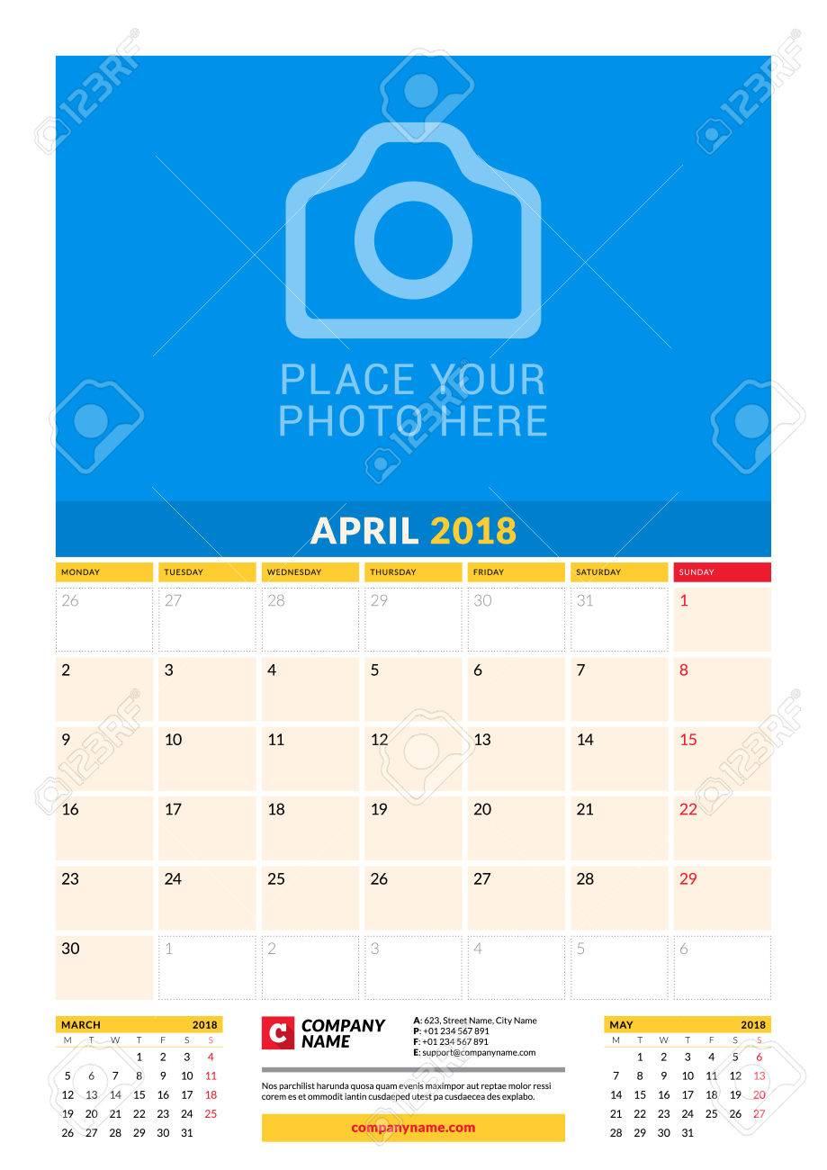 Vector Monatliche Kalenderplaner Vorlage Für 2018 Jahr. April ...