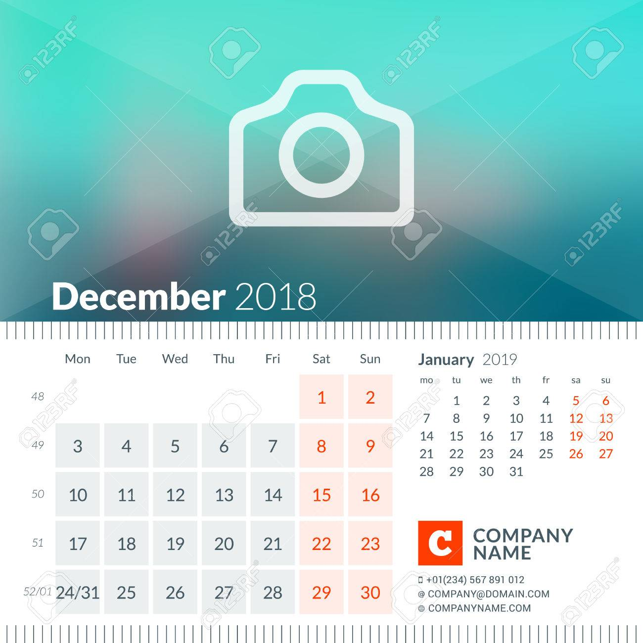 December 2018 Calendar For 2018 Year Week Starts On Monday