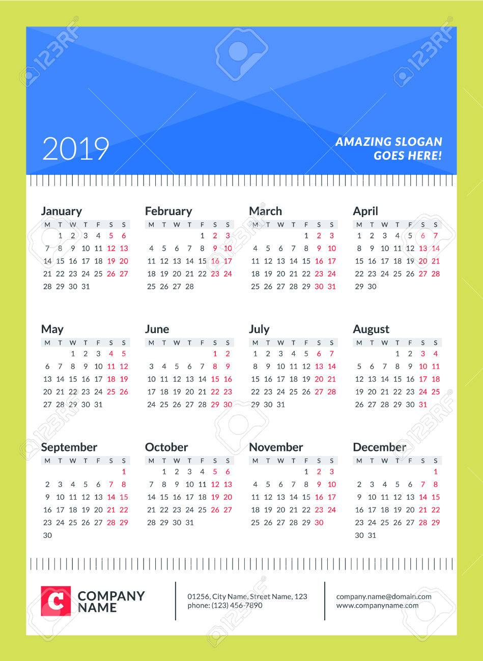 calendar poster for 2019 year week starts on monday 12 months on page