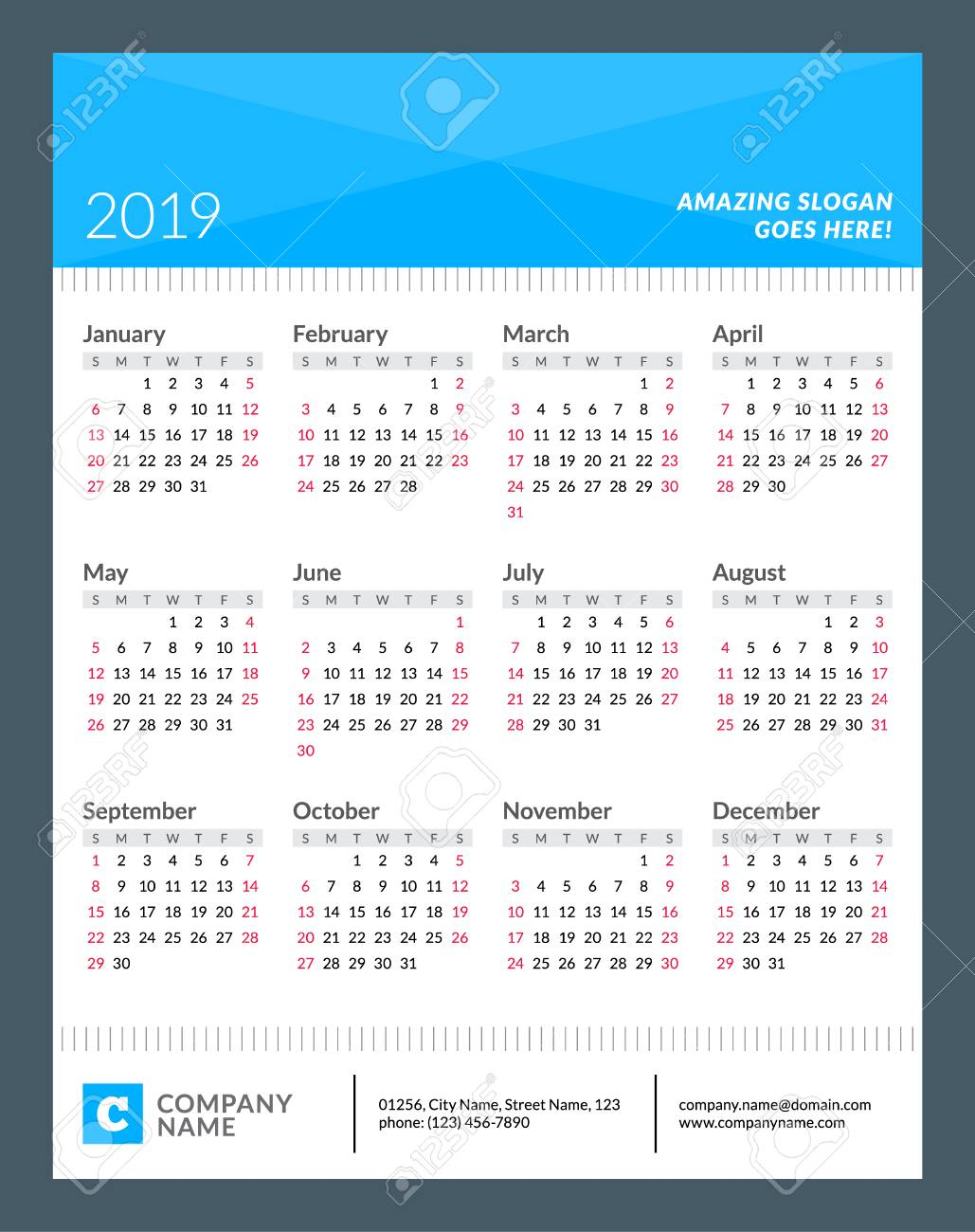Calendar Poster For 2019 Year Week Starts On Sunday 12 Months Royalty Free Cliparts Vectors And Stock Illustration Image 82084197
