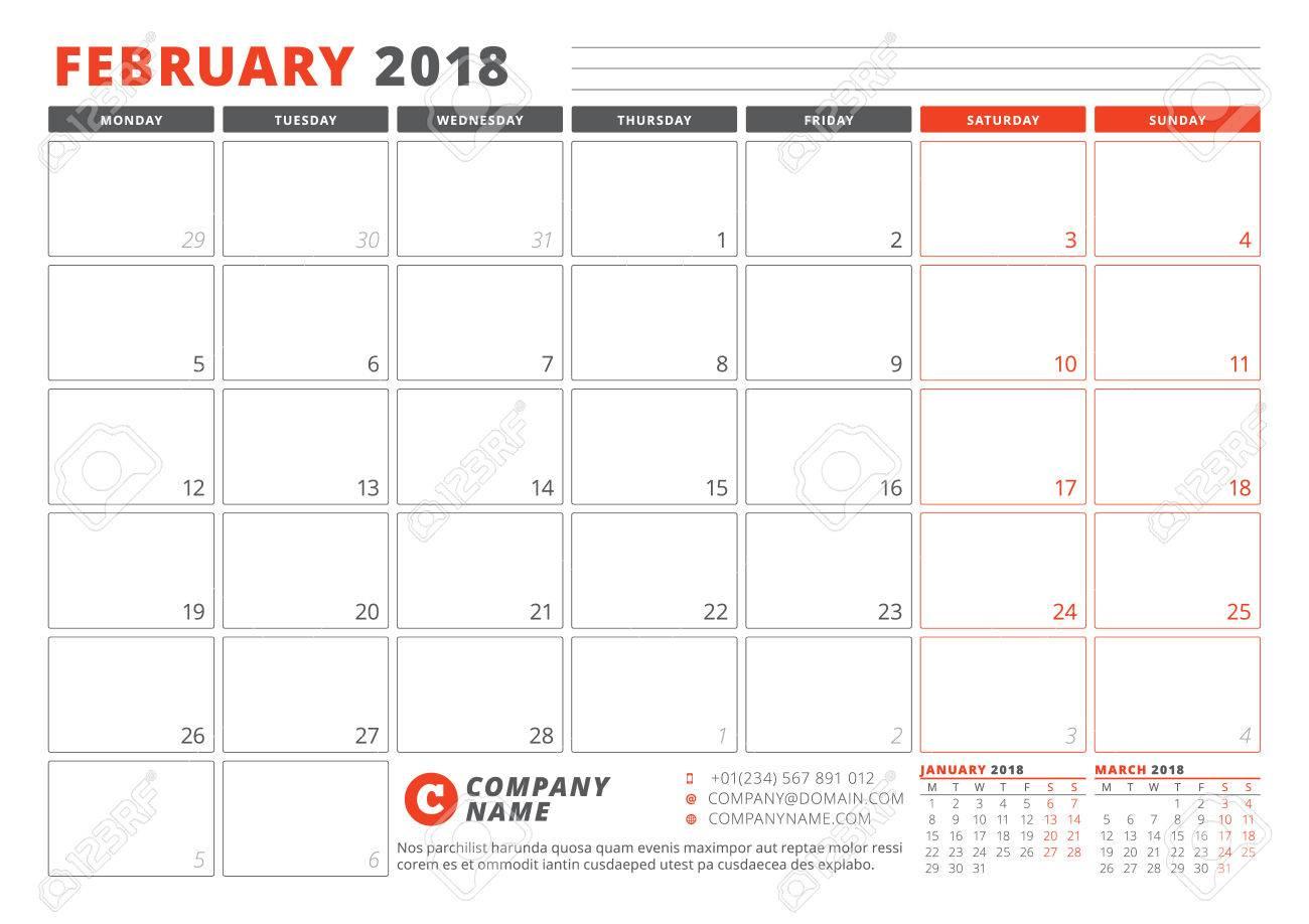 plantilla del calendario para el año 2018 febrero planificador