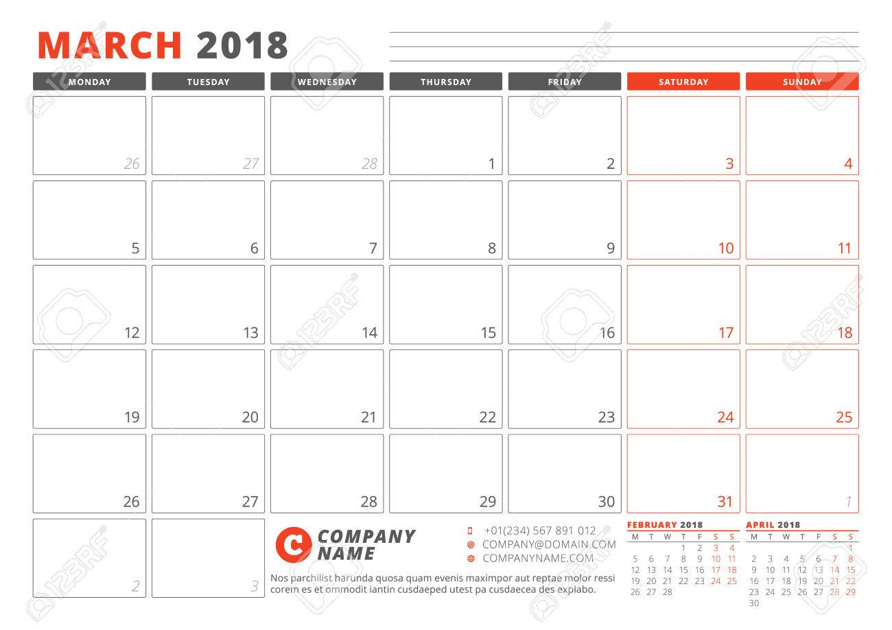 Calendar Template For 2018 Year March Business Planner 2018
