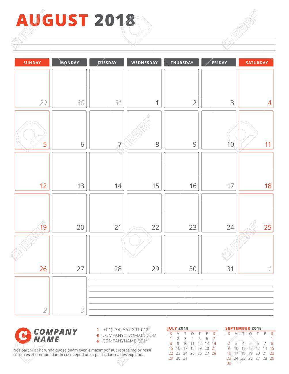 Kalendervorlage Für 2018 Jahr. August. Geschäftsplaner 2018 Vorlage ...