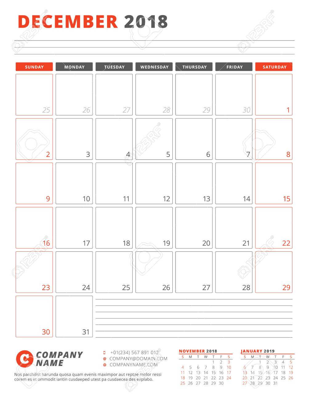 Calendar template for 2018 year december business planner 2018 calendar template for 2018 year december business planner 2018 template stationery design wajeb Images