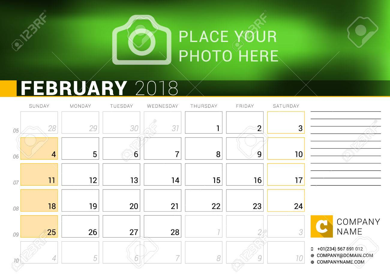 calendar for february 2018 vector design print template with