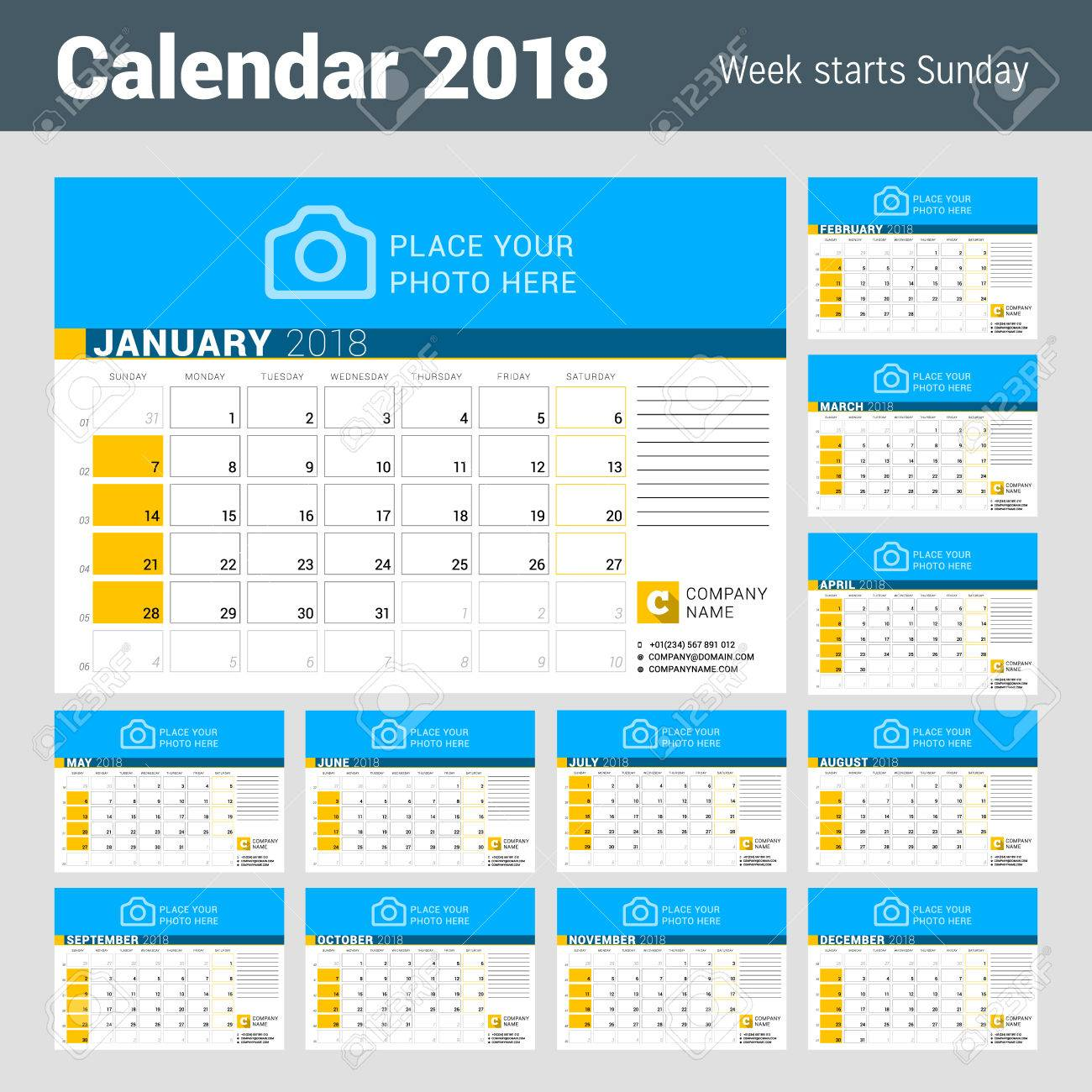 calendar for 2018 year vector design template with place for