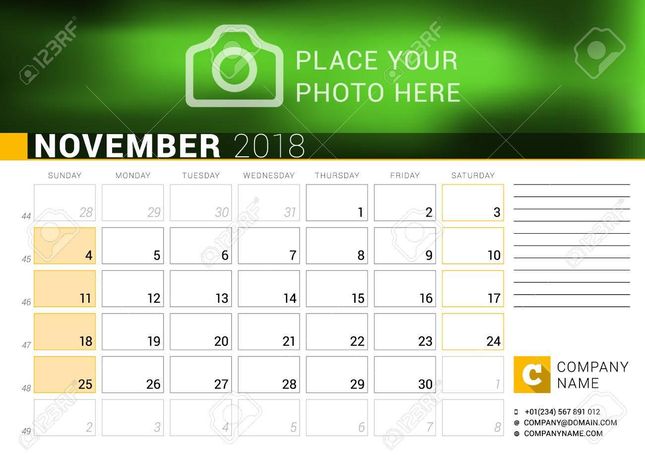 calendar for november 2018 vector design print template with