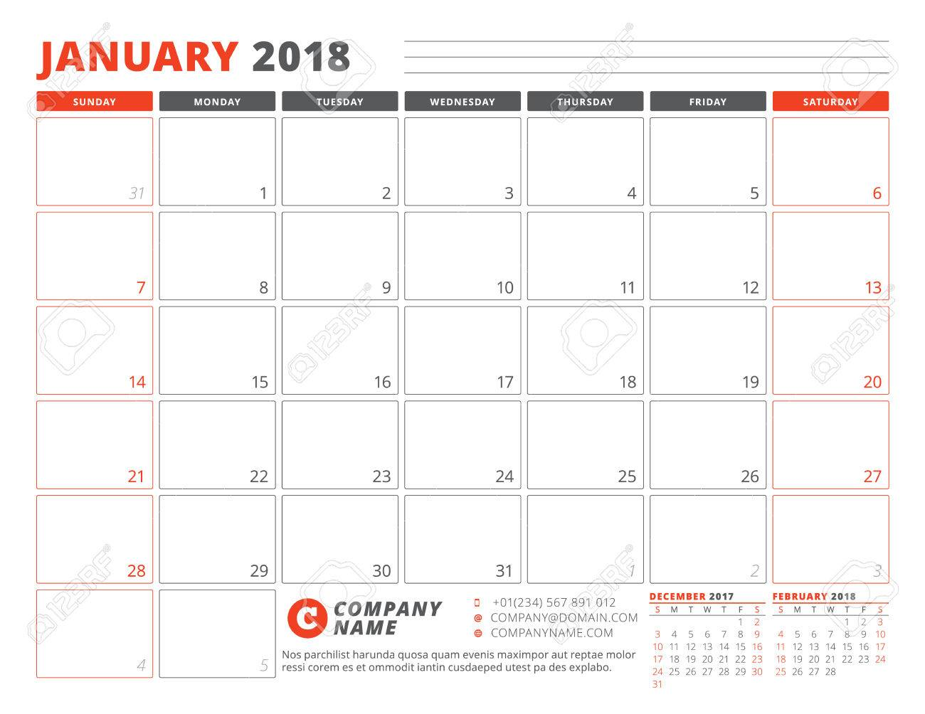 calendar planner template for january 2018 week starts on sunday with 3 months on the
