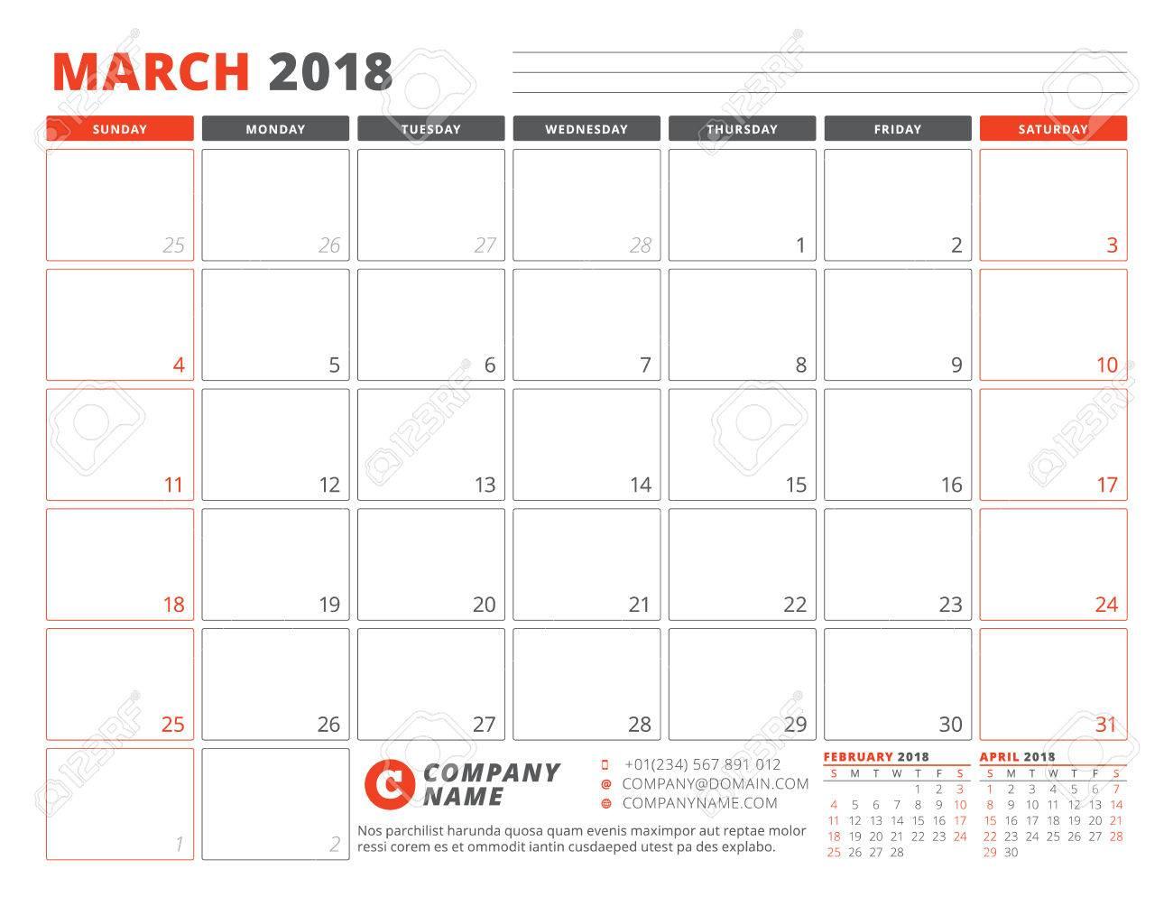 march 2018 calendar page