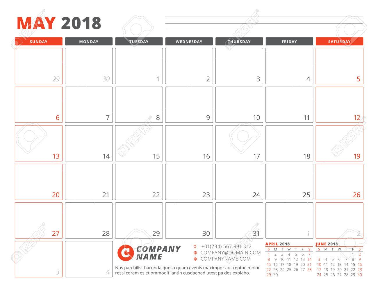 Monthly Planner Template 2018 from previews.123rf.com