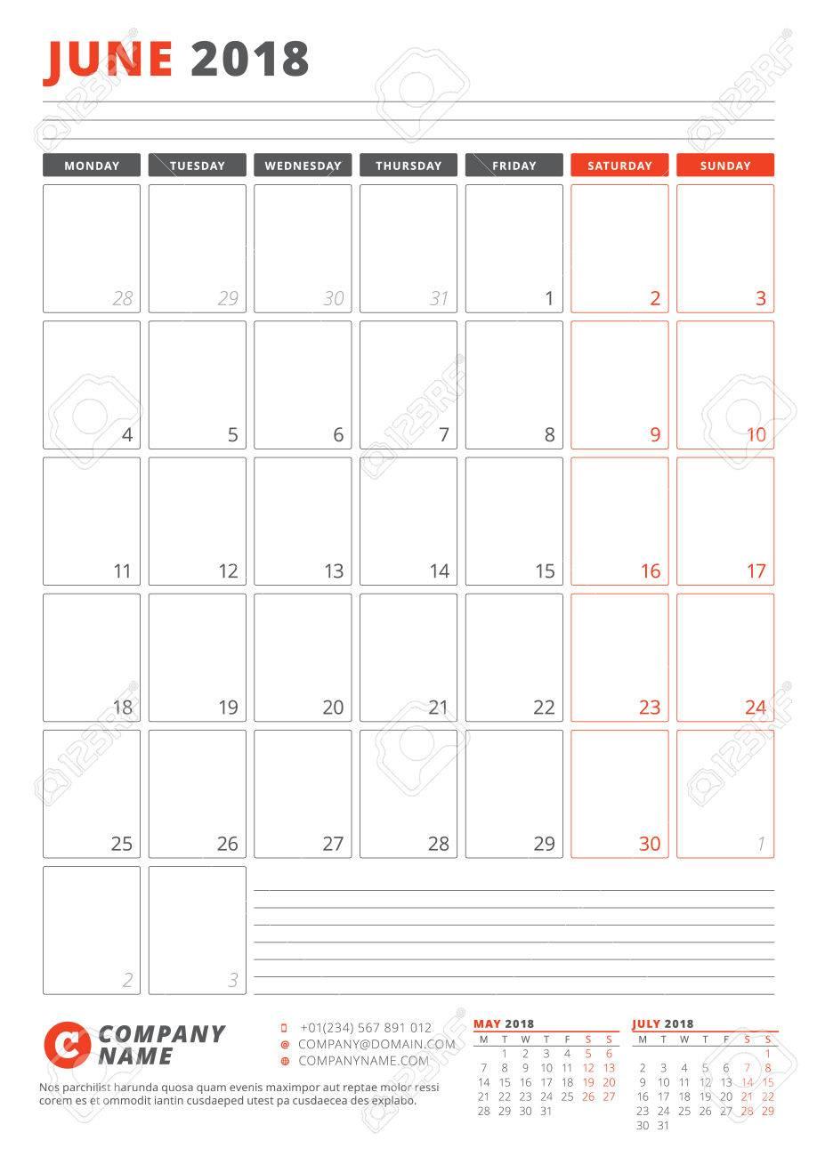 Kalendervorlage Für Juni 2018. Business Planner 2018 Vorlage ...