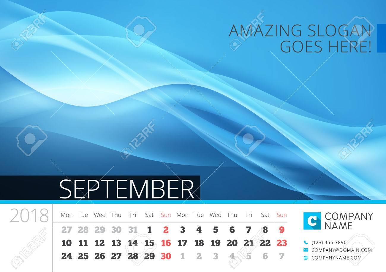Calendario De La Línea De Escritorio Para El Año 2018. Septiembre ...