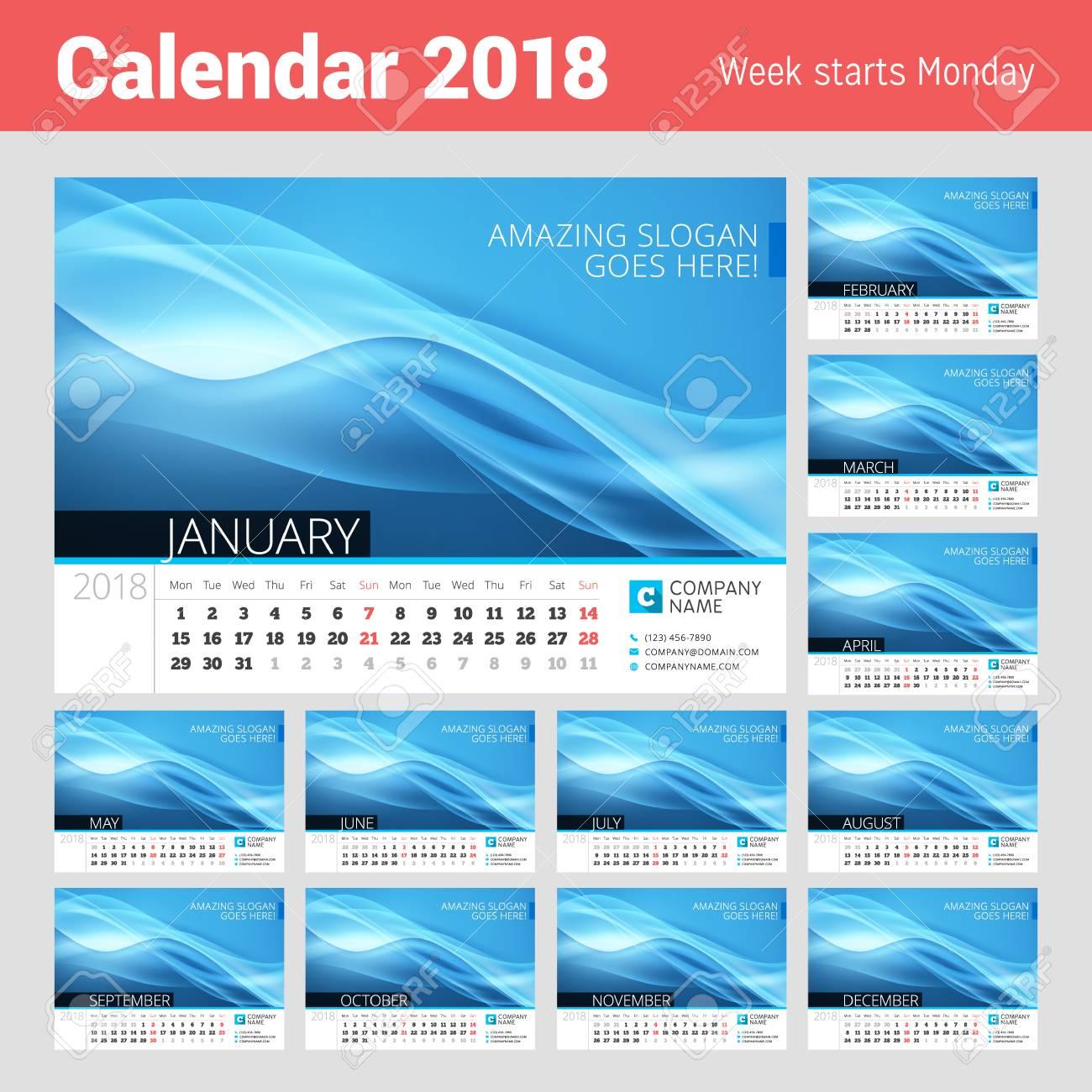 Calendario De Línea De Escritorio Para El Año 2018. Plantilla De ...