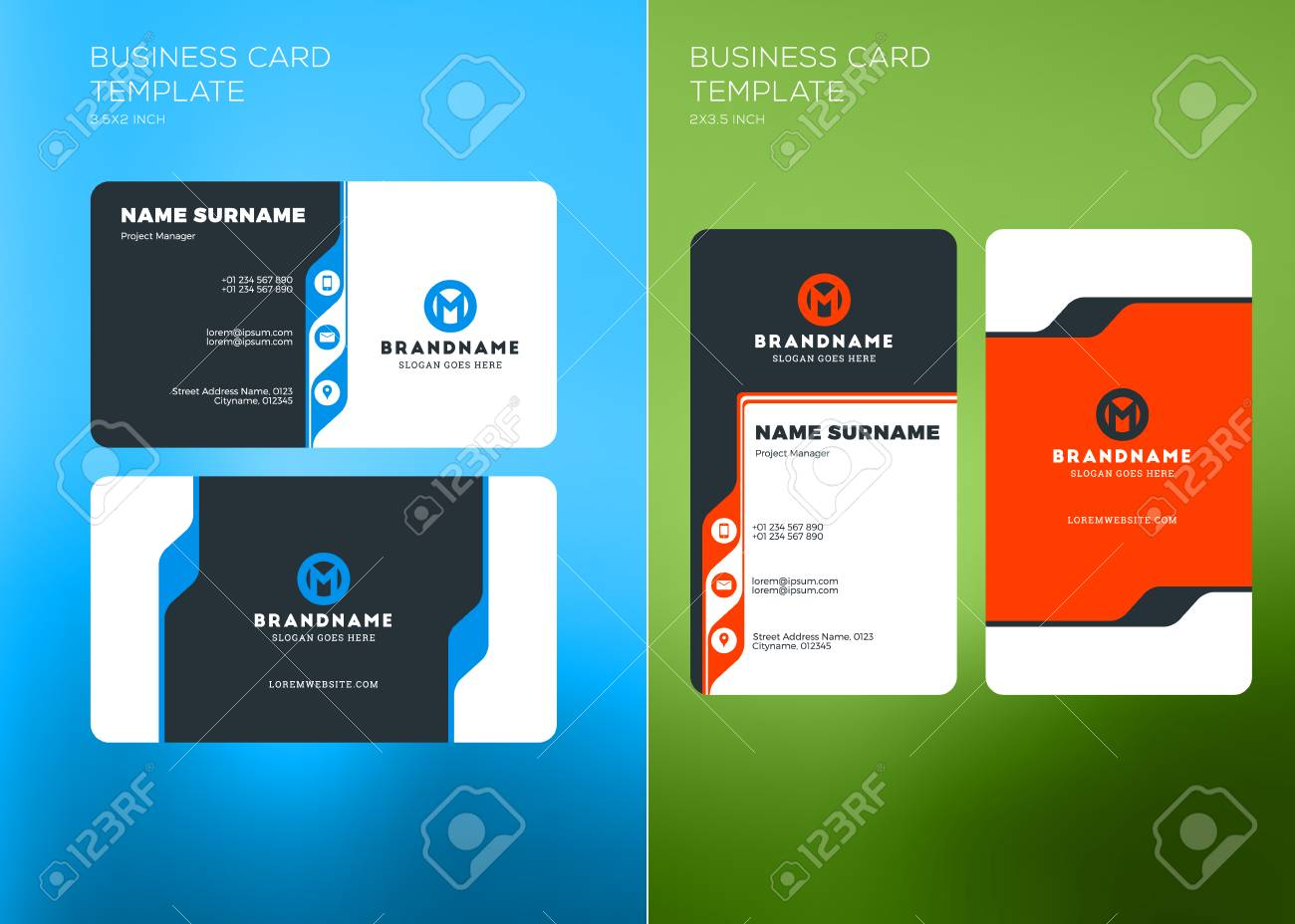 Corporate business card print template vertical and horizontal corporate business card print template vertical and horizontal business card templates vector illustration flashek Gallery